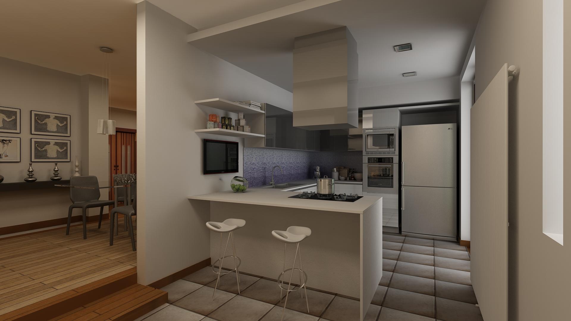 Cucina salone arketipo - Parete attrezzata con divano ...